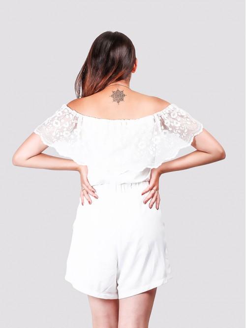 Off Shoulder Net Detail Dress