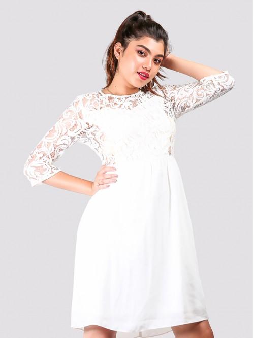Quarter Sleeve Net Detail Dress