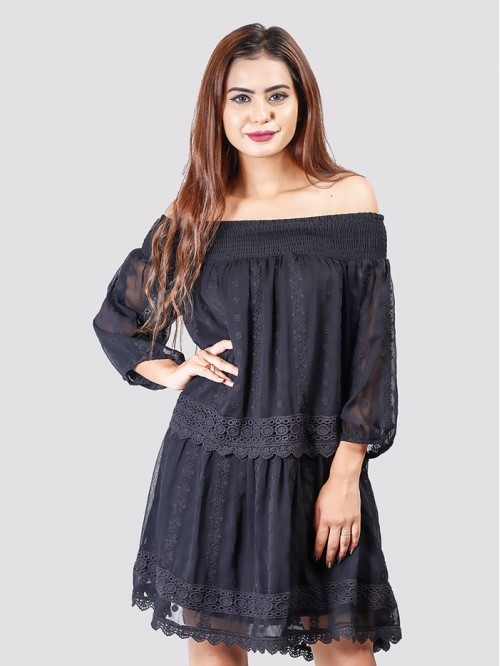Off Shoulder Full Sleeve Net Detail Dress