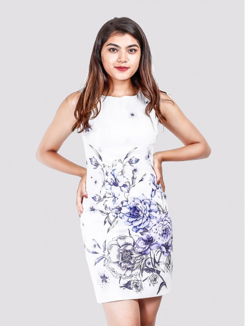 Boat Neck Floral Print Straight Line Dress