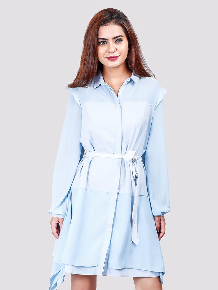Asymmetric Tie Up Full Sleeve Shirt Dress