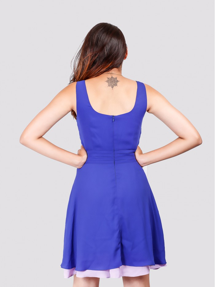 Round Neck Front Neck Pleat Contrast Layer Dress