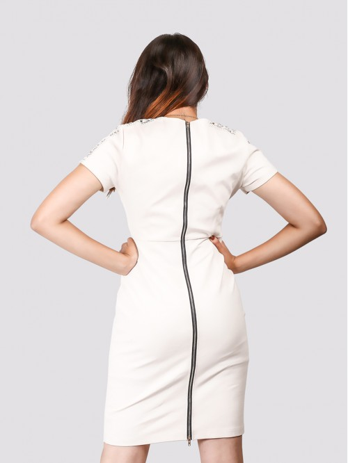 Boat Neck Lace Detail Sleeve Sheath Dress