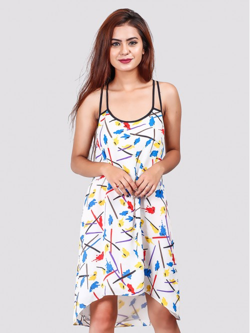 Low High Double Strap Print Dress
