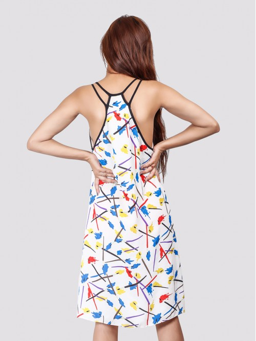 Low High Double Strap Print Dress