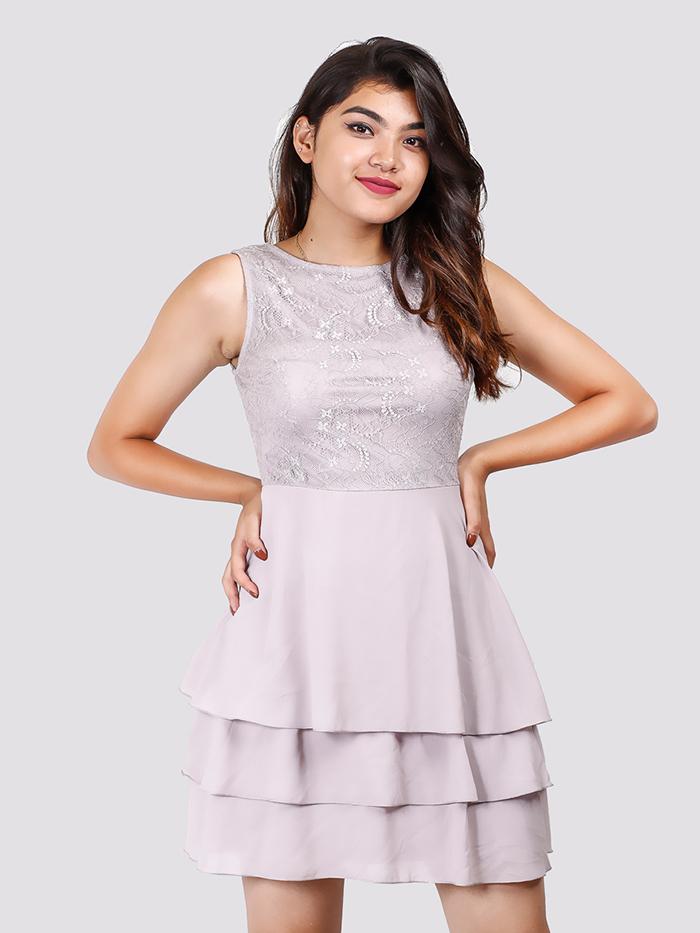 Boatneck Lace Details Layer Dress