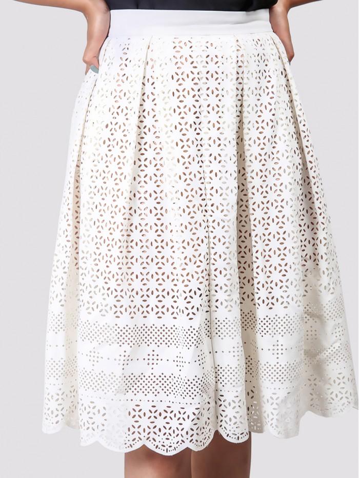White Aline Detail Skirt