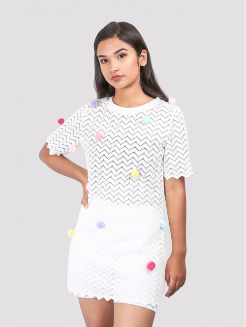 Round Neck Bubble Detail Dress