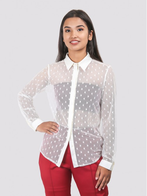 White Pattern Mesh Shirt