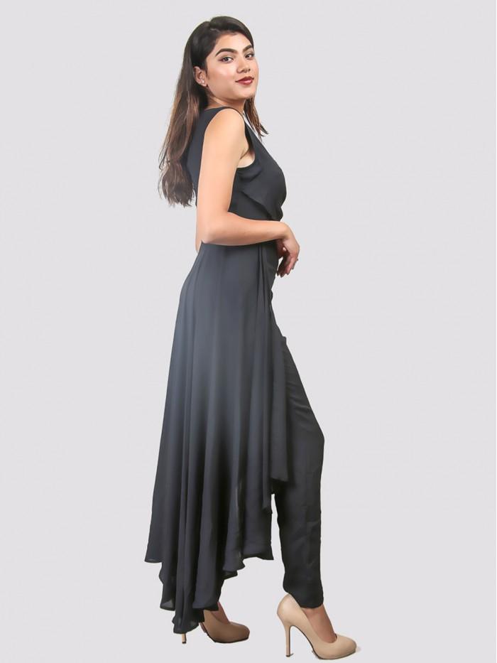 V Neck Asymmetric Dress
