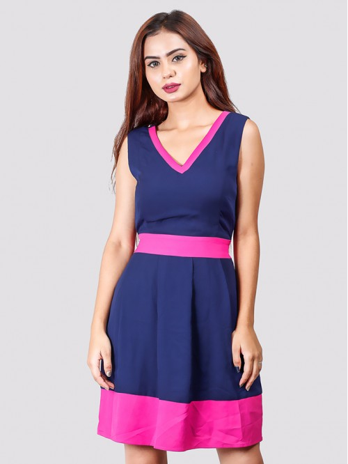 V Neck Sleeveless Contrast Dress
