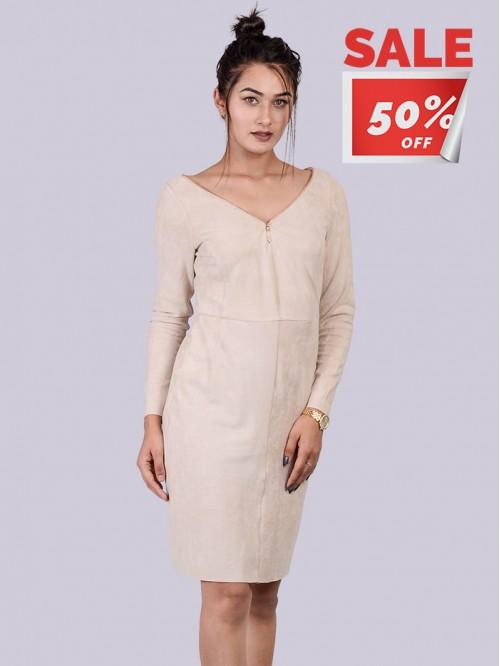 Suede V Neck Full Sleeve Dress