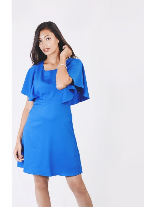 Asymmetric Flounce Sleeve Dress