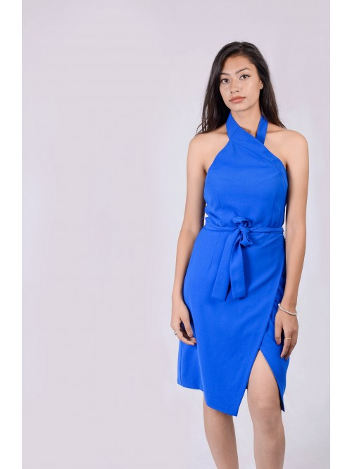 Halter Neck Asymmetric Dress