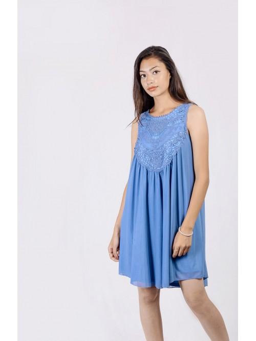 Boatneck Lace Detail Swing Dress