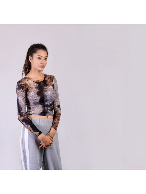 Abstract Print Close Neck Mesh Top
