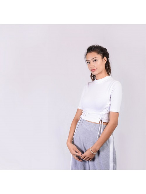 Half Sleeve Turtle Neck Eyelet Top