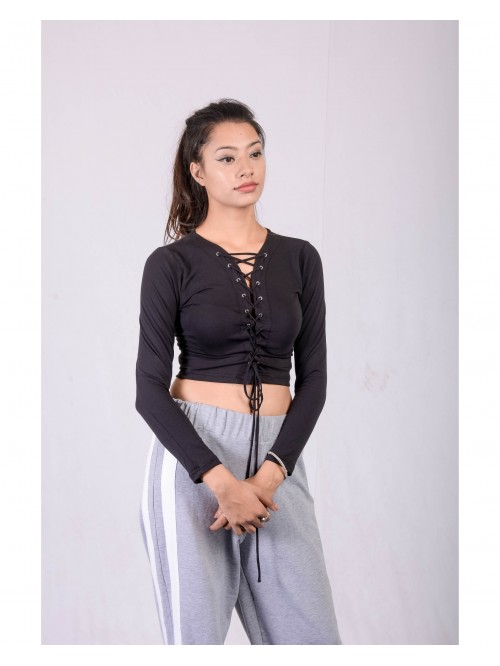 Front Eyelet Laceup Full Sleeve Crop Top