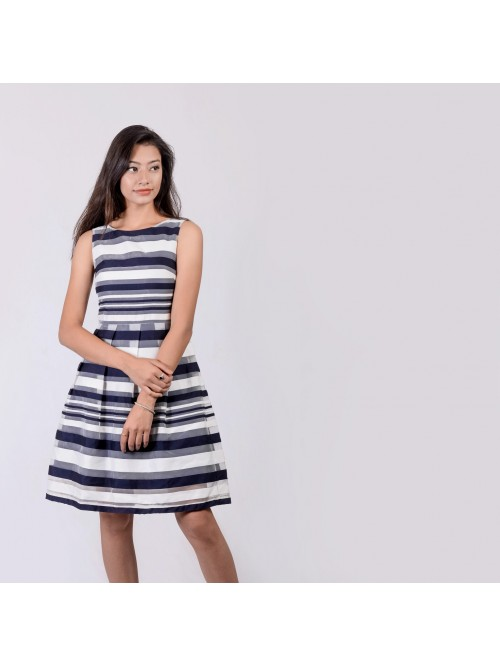 Boatneck Pleated Stripe Dress