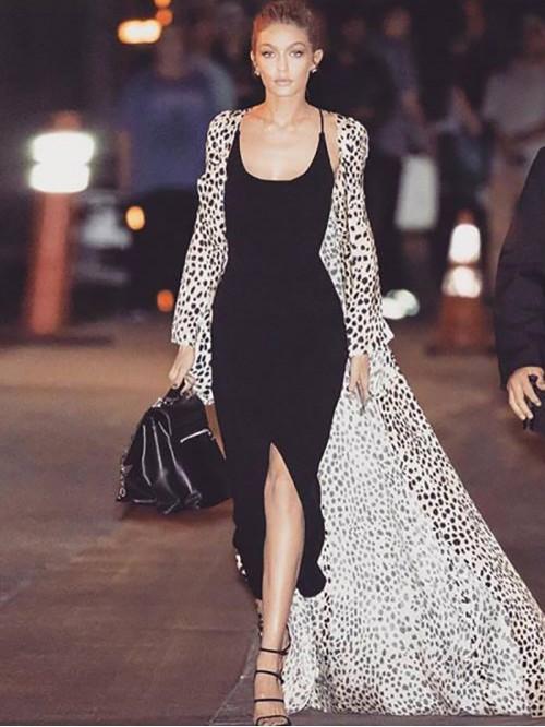 Gigi Inspired Front Slit Maxi Dress