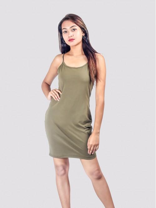 Khaki Basic Sling Dress
