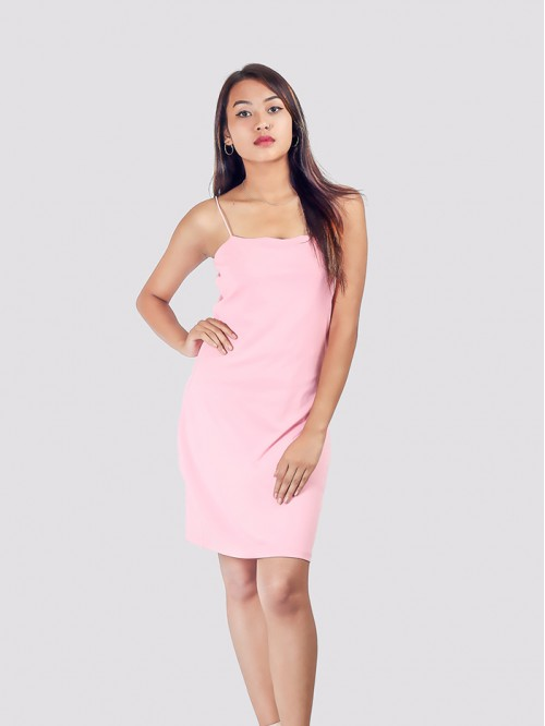 Baby Pink Straight Line Silky Sling Bodycon Dress