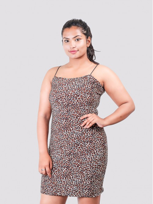 Leopard Print Straight Line Silky Sling Bodycon Dr...