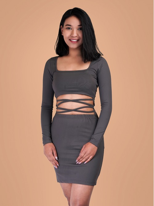 Square neck waist cut out Bodycon Dress