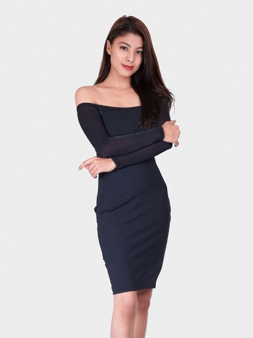Off Shoulder Full Sleeve Bodycon Dress