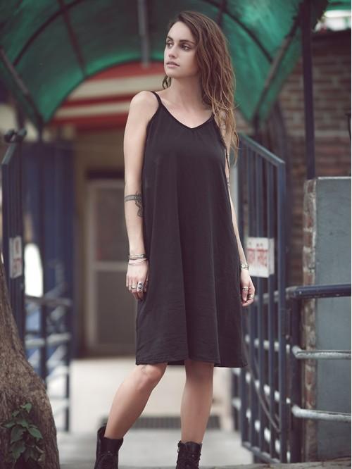 V Neck A line Sling Dress