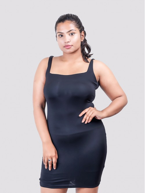 Black Square Neck Bodycon Dress