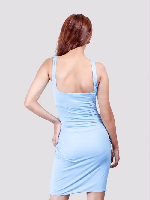 Baby Blue Square Neck Bodycon Dress