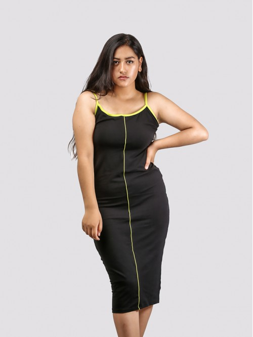 Contrast Piping Bodycon Sling Maxi Dress