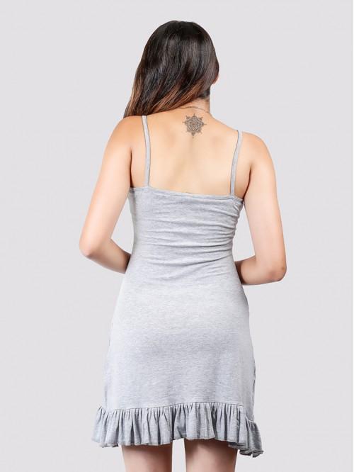 Grey Basic Hem Ruffle Dress