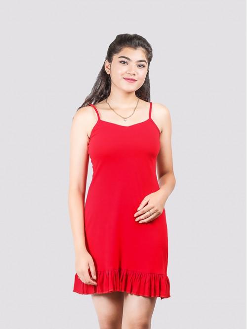 Red Basic Hem Ruffle Dress