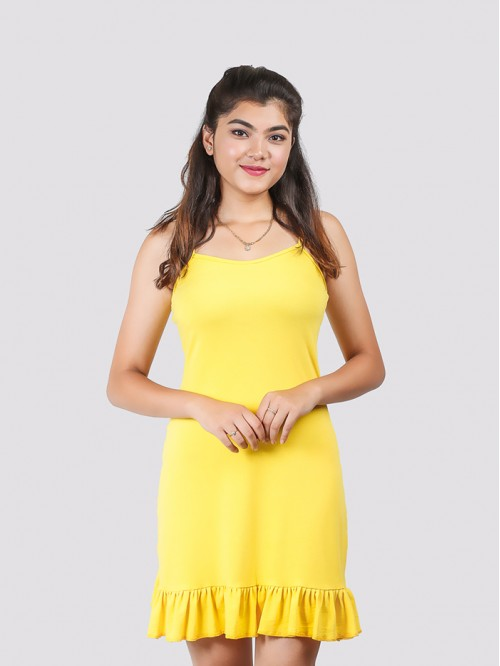 Yellow Basic Hem Ruffle Dress