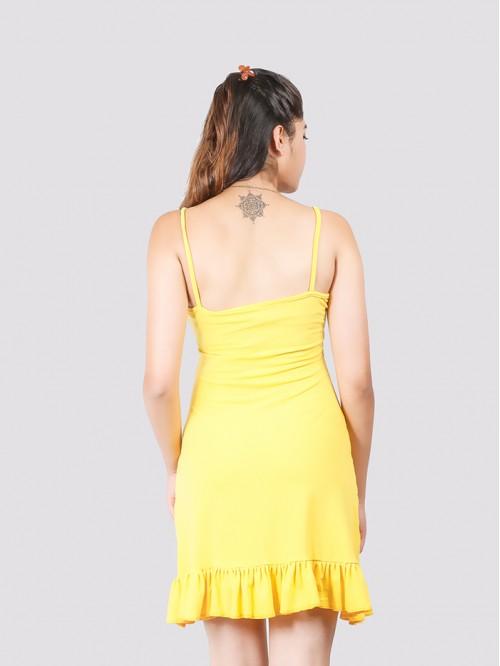 Yellow Basic Hem Ruffle Dress