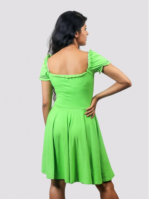 Neon Green Milk Maid Skater Dress