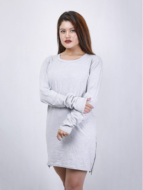 Full Sleeve Side Zip Detail T-Shirt Dress