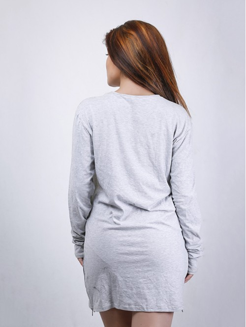 Full Sleeve Side Zip Detail T-Shirt Dress