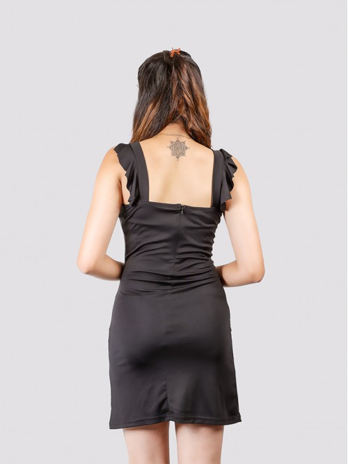 Black Drawstring Waist Cut Bodycon Dress