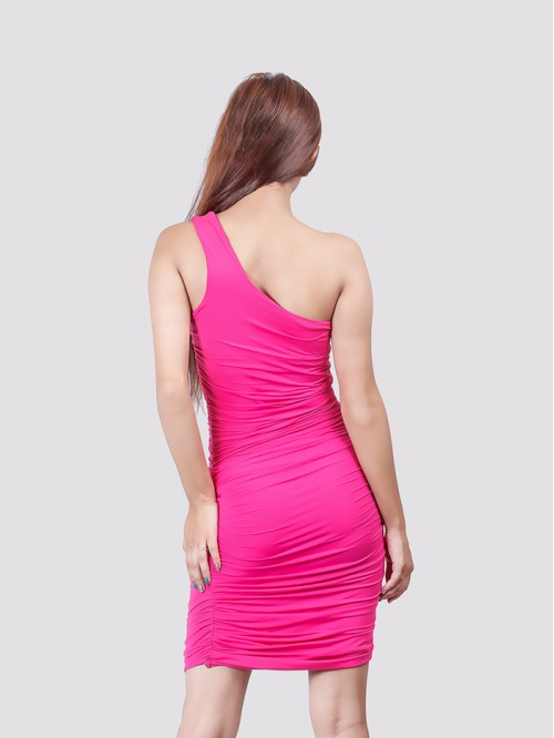 Pink One Sided Gathered Bodycon Dress