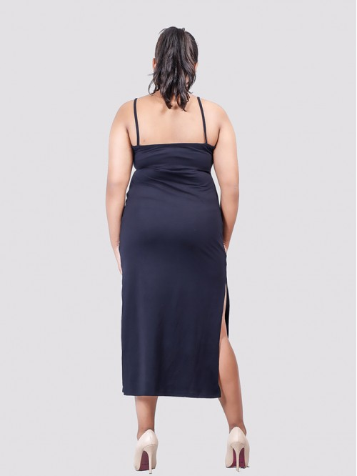 Navy V Neck Side Slit Maxi Dress