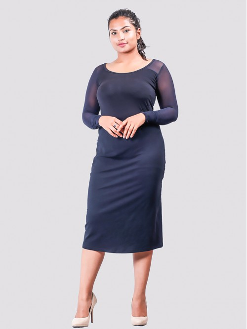 Navy Boat Neck Mesh Sleeve Bodycon Dress