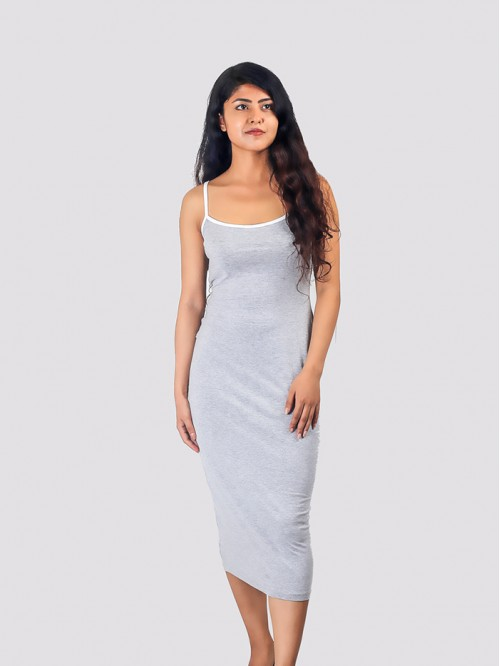 Grey Basic Contrast Piping Midi Dress