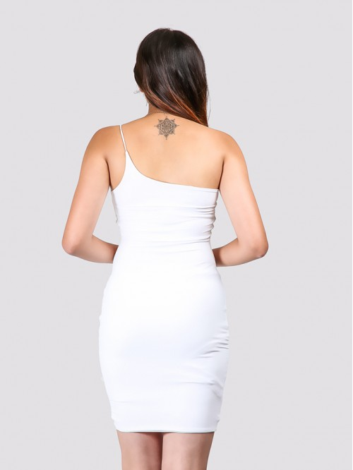 White One Side Sling Bodycon Dress