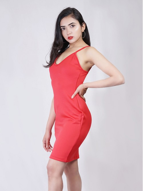 Sling Plunge Neck bodycon Dress