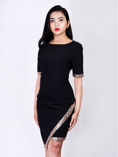Boatneck Asymmetric Dress