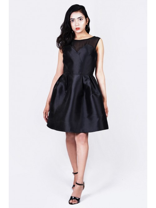 Boatneck Box Pleated Cocktail Dress