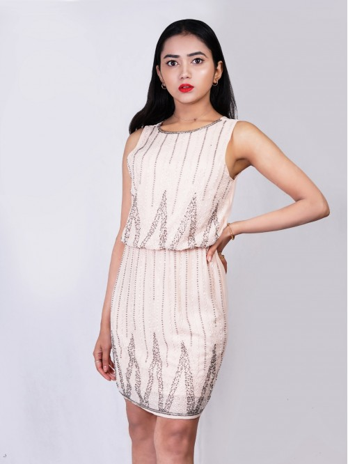 Boatneck Embroided Sleeveless Dress